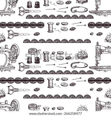 Vintage decorative pattern with sewing accessories. Hand drawing. Seamless for fabric design, gift wrapping paper and printing and web projects. - stock vector