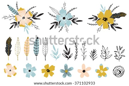 Vintage decorative plants and flowers collection. Hand drawn vector design elements. Template for Scrapbooking, Stickers, Planner, Invitations - stock vector