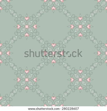 Vintage decorative vector seamless texture in Victorian style. Element for design. Ornamental backdrop. Ornate floral decor for wallpaper. Traditional decor on green background. - stock vector