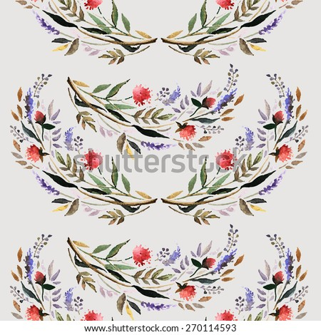 Vintage decorative watercolour floral pattern. Hand painting. Watercolor. Seamless pattern for fabric, paper and other printing and web projects. - stock vector