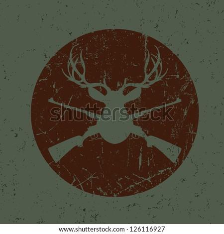 Vintage Deer Hunter Seal - stock vector