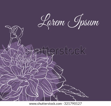 Vintage delicate invitation with flower. Hand drawn realistic dahlia on dark background.  - stock vector