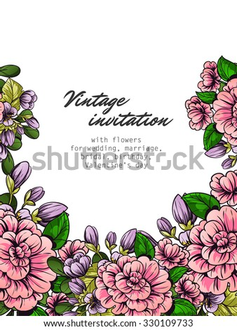 Vintage delicate invitation with flowers for wedding, marriage, bridal, birthday, Valentine's day. Romantic  illustration. - stock vector
