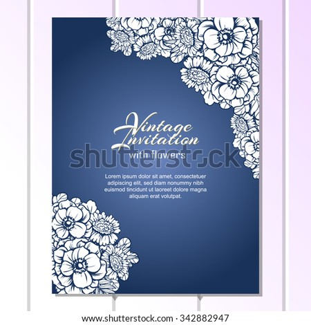 Vintage delicate invitation with flowers for wedding, marriage, bridal, birthday, Valentine's day. Romantic vector illustration. - stock vector