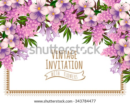 Vintage delicate invitation with flowers for wedding, marriage, bridal, birthday, Valentine's day. - stock vector