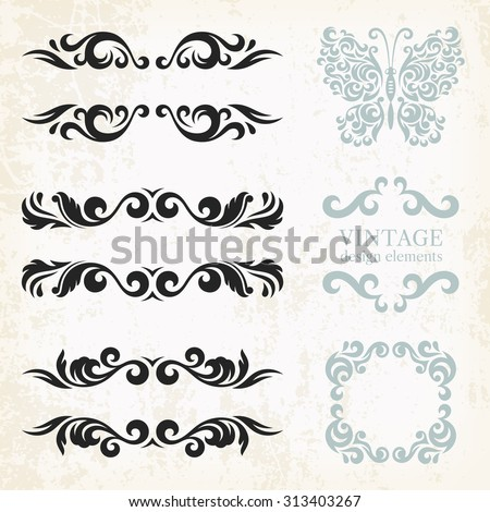 Vintage design elements and page decoration, set of ornate patterns in retro style - stock vector