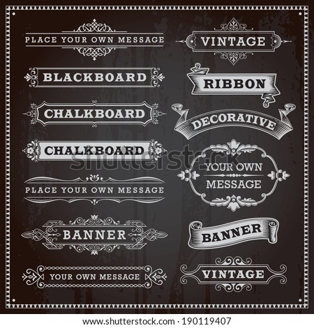 Vintage design elements - banners, frames and ribbons, chalkboard style vector - stock vector