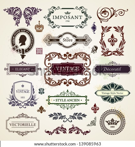 Vintage design elements. Calligraphic frames, floral patterns and banners. Vector illustration. - stock vector