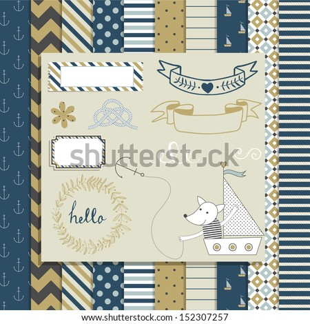Vintage Design Elements: cute toy fox in boat, frames, ribbon, tag, star, flag and cute seamless backgrounds. For design  or scrap booking. - stock vector