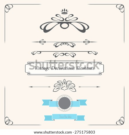 Vintage design elements for greeting cards, invitations, etc. - stock vector