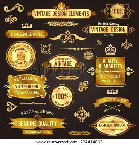 Vintage design elements golden luxury decorative set isolated vector illustration - stock vector