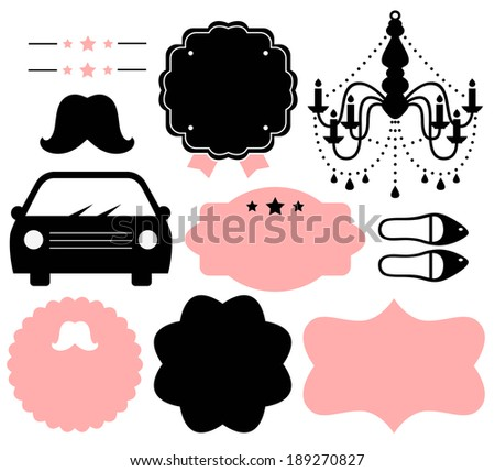 Vintage design elements isolate on white ( black & pink )  - stock vector
