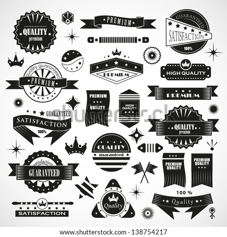 Vintage Design Elements. Labels In Retro And Vintage Style Isolated On Background. Vector Illustration, Graphic Design.Lot Of Elements Useful For Design. Logo Elements - stock vector