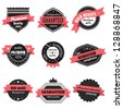 Vintage Design Elements. Labels In Retro And Vintage Style Isolated On White Background. Vector Illustration, Graphic Design.Lot Of Elements Useful For Design. Retro Vintage Styled, Logo Symbols - stock vector