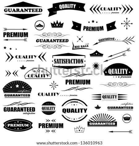 Vintage Design Elements. Labels In Retro And Vintage Style Isolated On White Background. Vector Illustration, Graphic Design Editable For Your Design. Styled Arrows Logo - stock vector