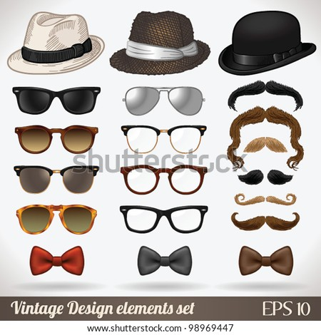 Vintage design elements set (hats/glasses/sunglasses/mustaches/bow ties) - vector illustration. Shadow and background are on separate layers. Easy editing. - stock vector