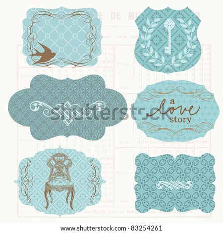 Vintage Design frames and elements for scrapbook - stock vector