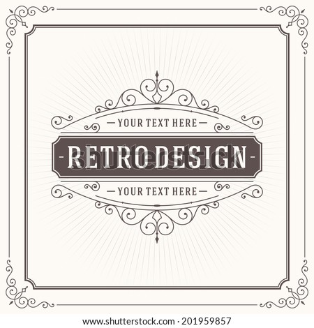 Vintage design template. Retro greeting card flourishes, calligraphic and typographic design elements. Template for design invitations, posters and other design.  - stock vector