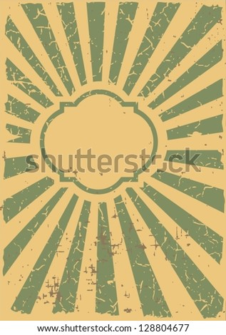 Vintage design template with frame and sunbeams.Plus three objects  cracked surface. - stock vector