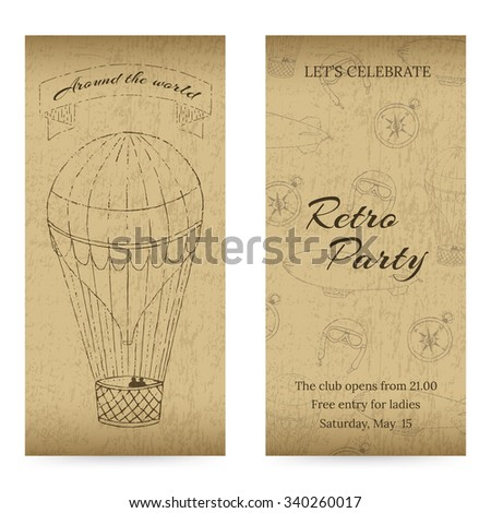 Vintage design template with grunge elements. Aeronautic theme. For flyers, brochure, coupon, ticket, banner, rack card or web design. Vector. You can put your own text message. - stock vector