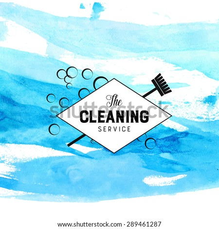 Vintage diamond badge for cleaning service with broom and bubbles. Vector label at blue watercolor strokes background. - stock vector