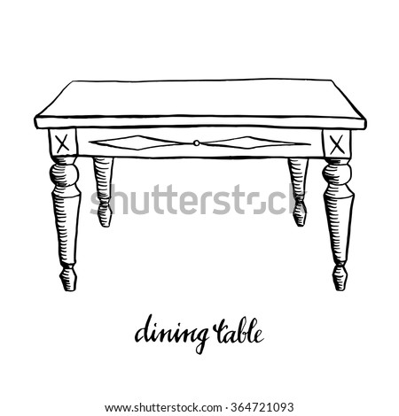 Vintage dining table/ Vintage furniture/ Interior design elements/ Hand drawn ink sketch illustration isolated on white background - stock vector