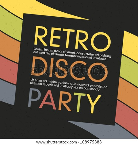 Vintage disco party invitation. Abstract flyer design, vector, EPS10 - stock vector