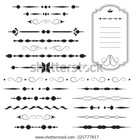 Vintage dividers and ornaments, calligraphic design elements and page decoration, retro style set, black isolated on white background, vector illustration. - stock vector