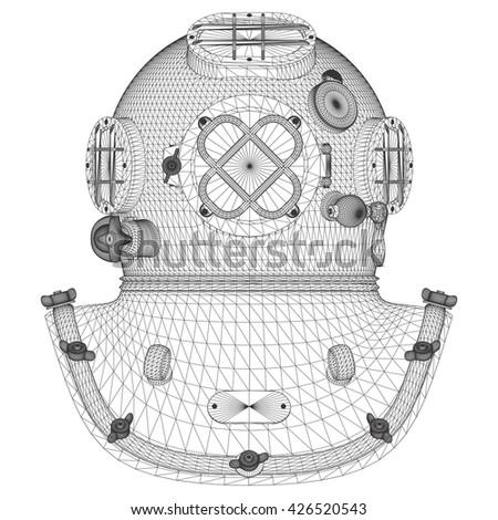 Vintage Diving Helmet Vector 01 - stock vector