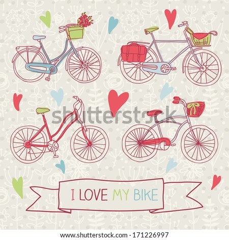 "Vintage doodle bicycle background, vector illustration ""I love my bike"" - stock vector"