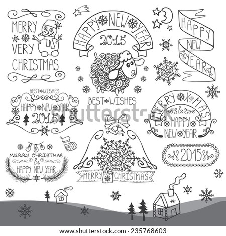 Vintage Doodles Merry Christmas,New Year Calligraphic And Typographic badges,labels  With Chalk Word Art,ribbons,snowflakes ,swirls .Sheep year.Outline Vector - stock vector