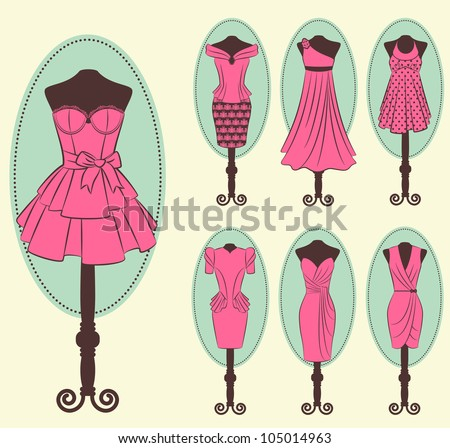 Vintage dress with lace ornaments. Vector - stock vector