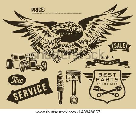 Vintage eagle and auto-moto parts - stock vector