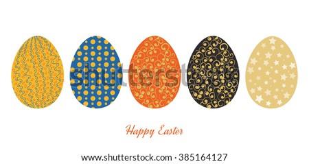 Vintage easter egg design set. Happy Easter illustration for greeting card, poster, banner. - stock vector