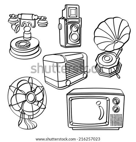 Vintage Electric Appliances - stock vector