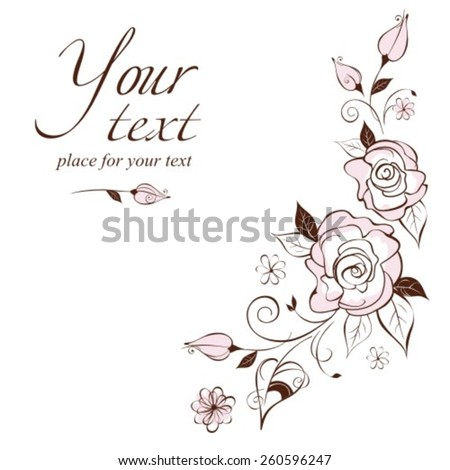 Vintage elegant wedding invitation with the stylized roses.Vector illustration. - stock vector