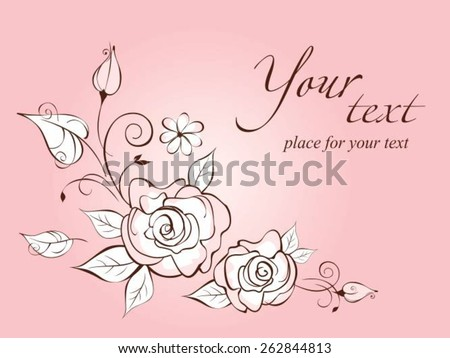 Vintage elegant wedding invitation with the stylized roses.Vector illustration - stock vector