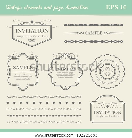 vintage element and page decoration - stock vector
