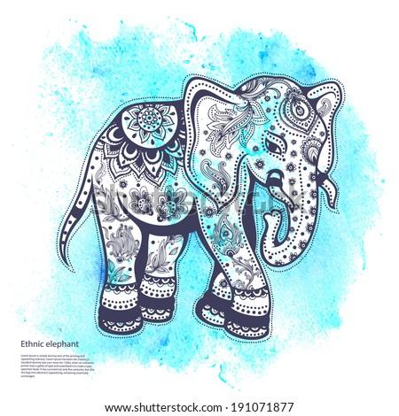 Vintage elephant illustration with blue watercolor background - stock    Vintage Elephant Illustration