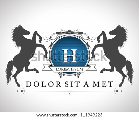 Vintage emblem with horses with a  place for Your text - stock vector