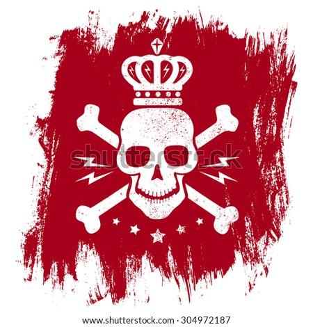 Vintage emblem with skull on grunge background - stock vector