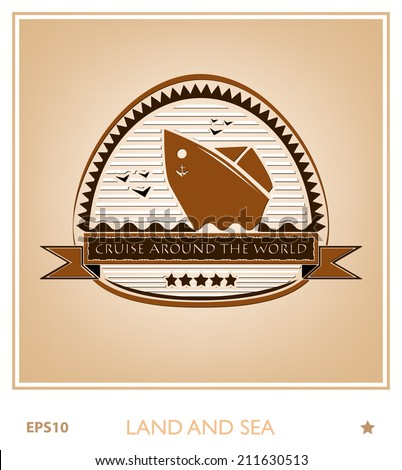 Vintage emblem with the ship - stock vector