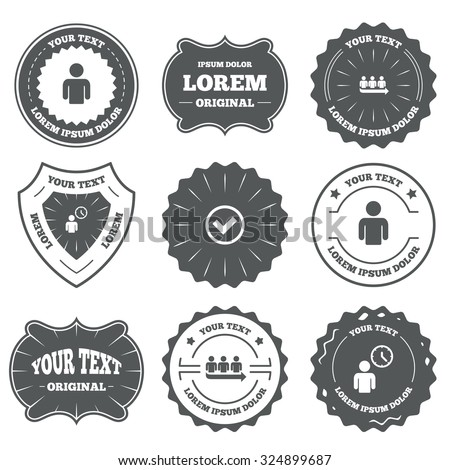 Vintage emblems, labels. Queue icon. Person waiting sign. Check or Tick and time clock symbols. Design elements. Vector - stock vector
