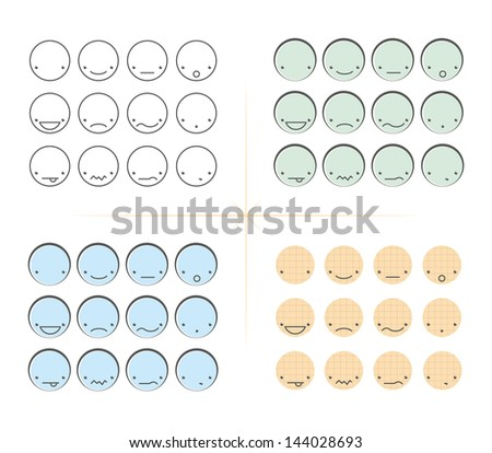 Vintage emoticons - stock vector
