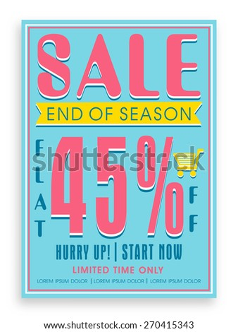 Vintage End of Season Sale poster, banner or flyer design with flat discount offer. - stock vector