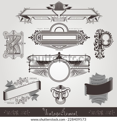 vintage engraving banners with different letter and pattern - stock vector