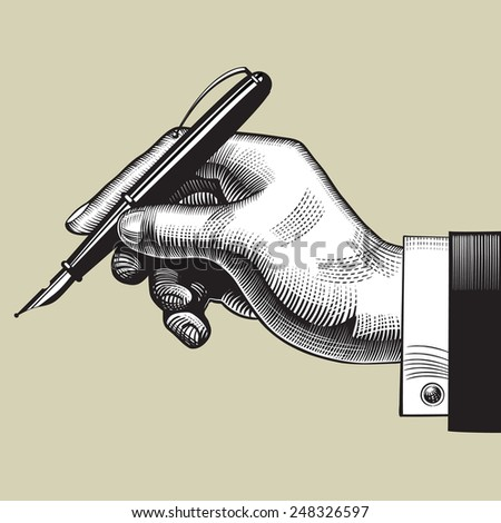 Vintage engraving drawing of hand with a pen. Vector illustration - stock vector