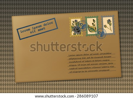 Vintage envelope. Envelope for the letter. Stamps with flowers. Printing with place for your text. Retro background in rhombus. Vector graphics. - stock vector