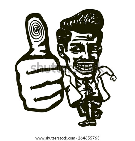 Vintage excited man making thumb up hand gesture with  dazzling smile, endorsement, support, follower praising for good job! Well done! - stock vector