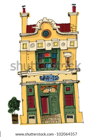 vintage facade - London - cartoon - stock vector